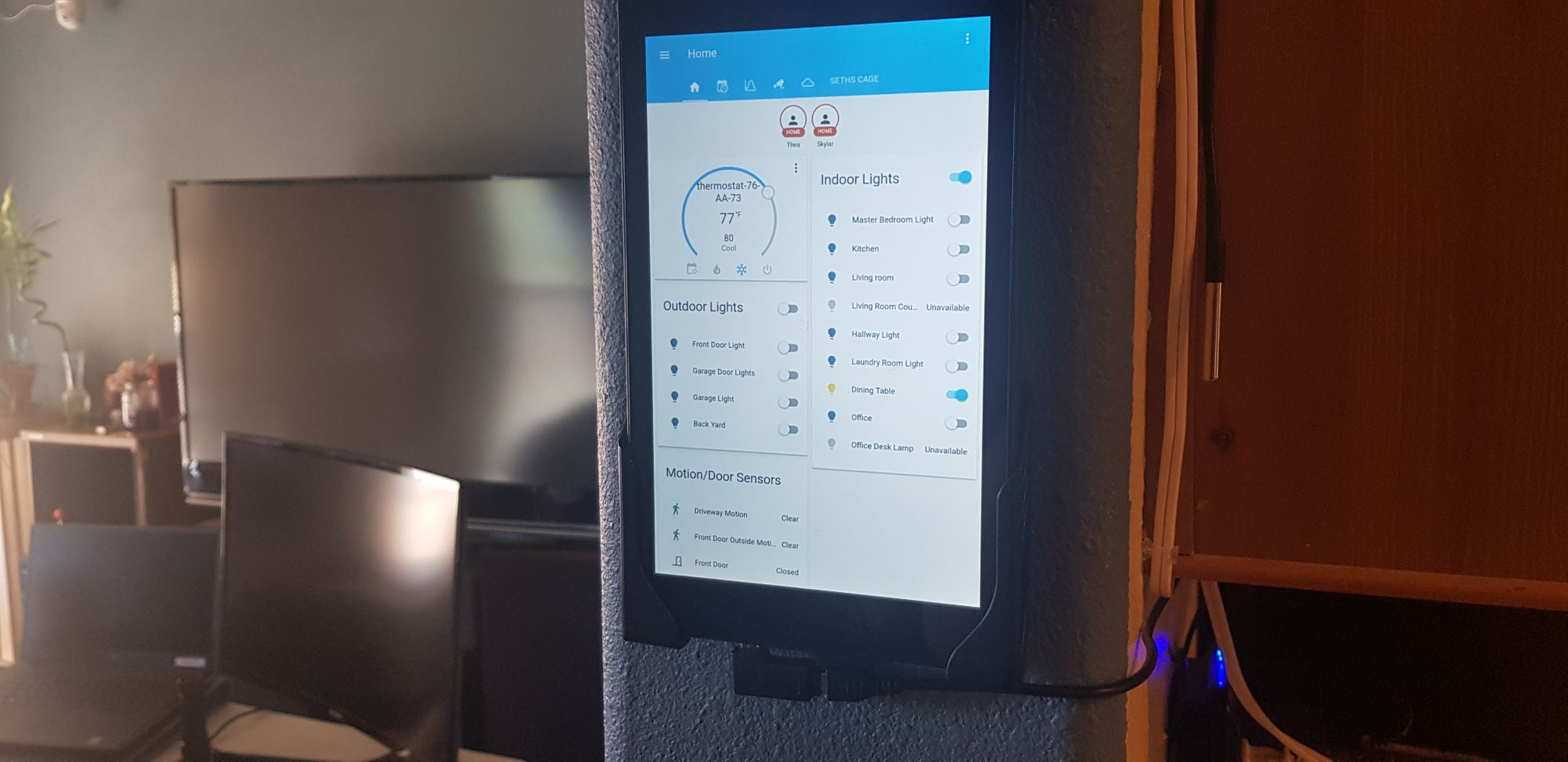 Wall mounted tablet running Home Assistant